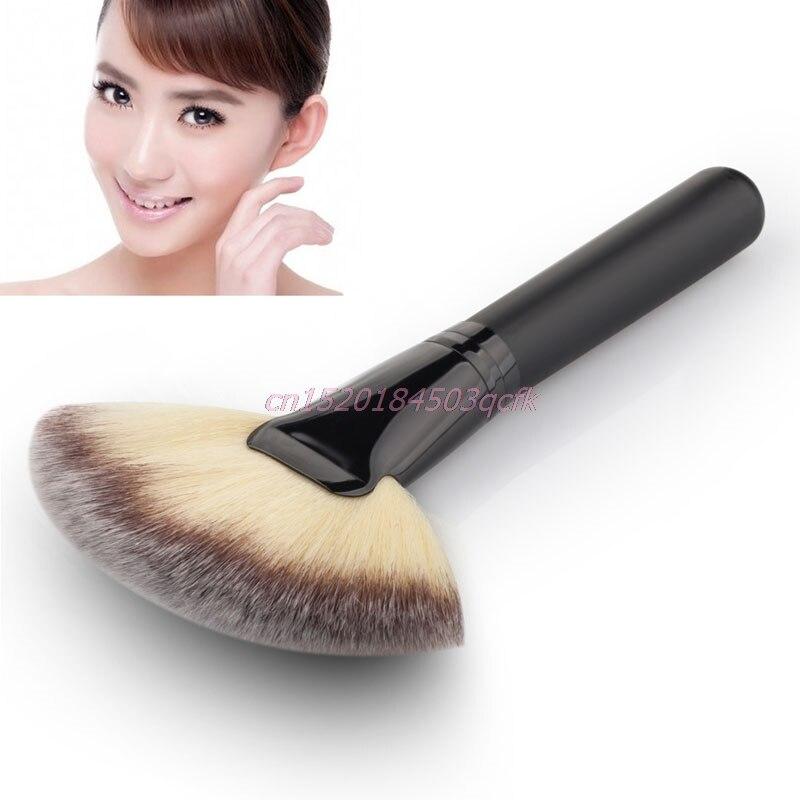 Forma de abanico cepillo de maquillaje profesional cosmético mezcla resaltador de contorno cara polvo pincel maquiagem brochas maquilaje pinceau