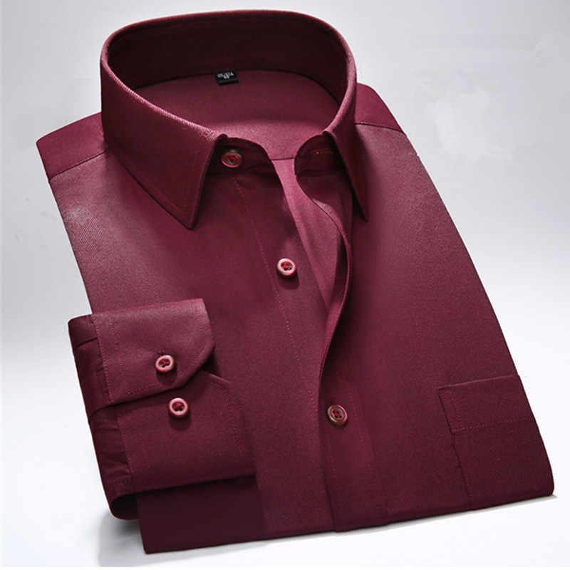 2019 весна новая мужская рубашка однотонная с длинным рукавом Черная Мужская Рабочая одежда мужская брендовая деловая Классическая облегающая саржа Мода YN10268
