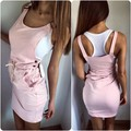 2016 new arrival hot sale fashion cute women dress tank style o-neck design above-knee solid sleeves