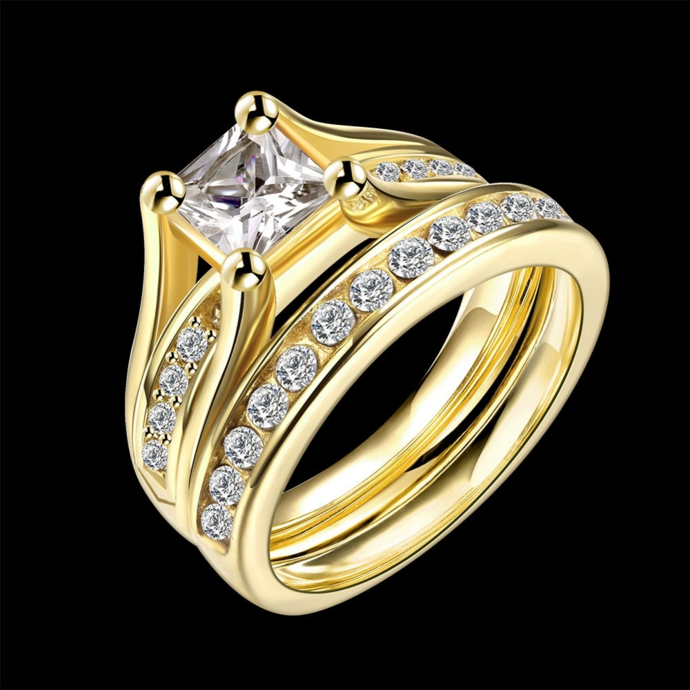 Junxin Geometric Design Male Female Yellow Gold Color Wedding Ring Sets Stainless Steel Rings For Men And Women Jewelry Smt0391 In From