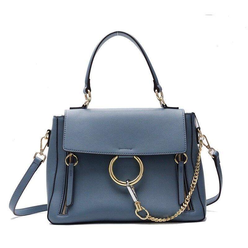 2017 Split Leather Big Metal Circle Ring Flap Chain Handbags Crossbody Messenger Shoulder Bags Women Female Tote Bag