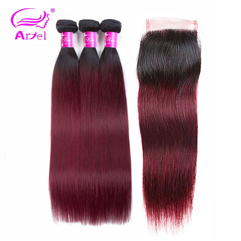 ARIEL Ombre Hair 3 Bundles With Closure 1B 99J Burgundy Dark Wine Red 100 Human Hair