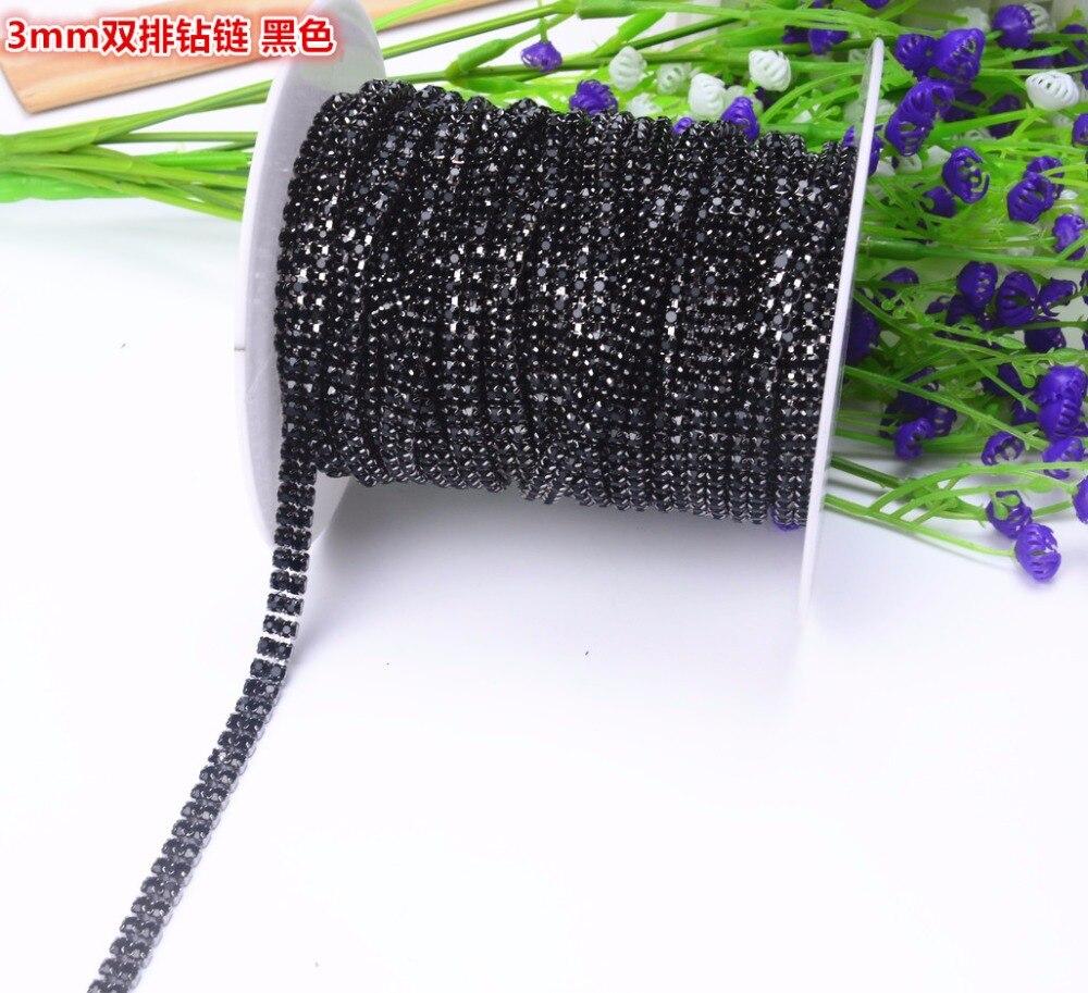 2 Rows 5yard 6mm Crystal Black Rhinestone Cup Chain Black Tone Rhinestones Trim Sewing Craft  Sewing Diy Beauty