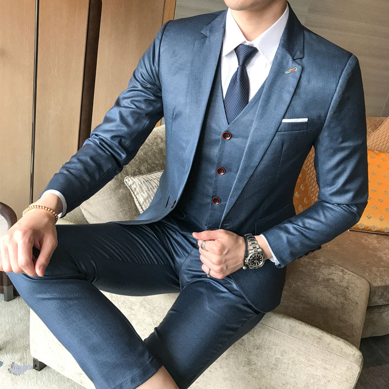 CCXO Brand Casual Men Suits Wedding Business Blazers Slim Stripe Grid Suit Party Prom Male Tuxedo Formal Dress Jacket+Pants+Vest