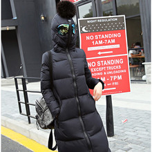 2016 Women Plus Size Winter Jacket Manteau Femme Fur Ball Anti-Fog Glasses Hooded Duck Down Long Cotton Down Coat Jacket