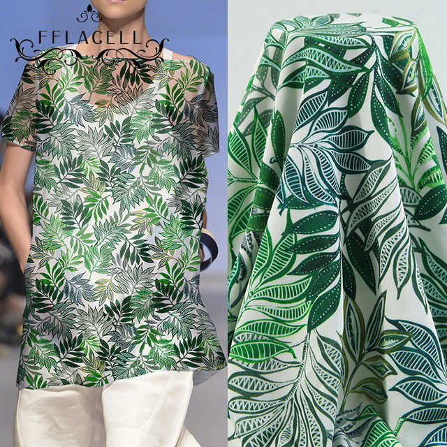Fflacell 3 Meter Printed Fabric Green Banana Leaf Flower Fabric