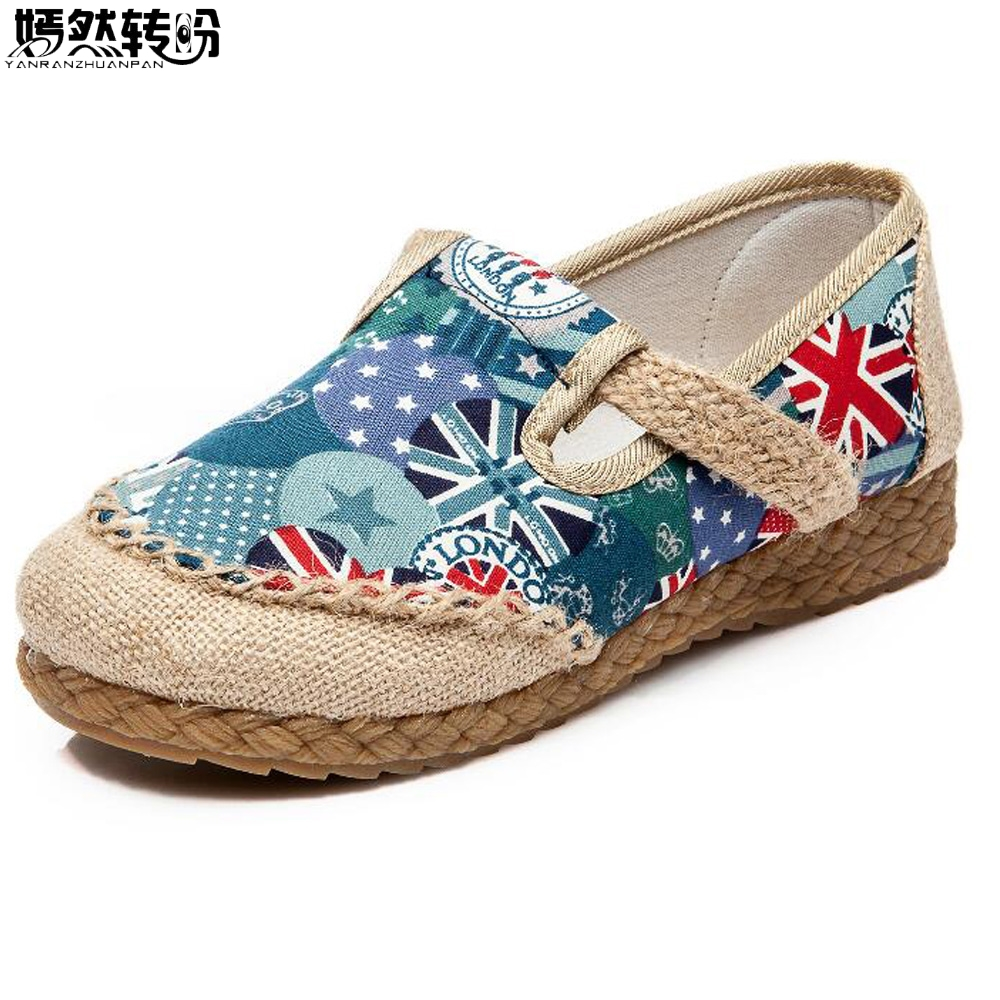 Women Flats Shoes Vintage Cotton Linen Canvas Flag Embroidered Cloth National Soft Woven Round Toe Ballet Shoes Woman vintage embroidery women flats chinese floral canvas embroidered shoes national old beijing cloth single dance soft flats