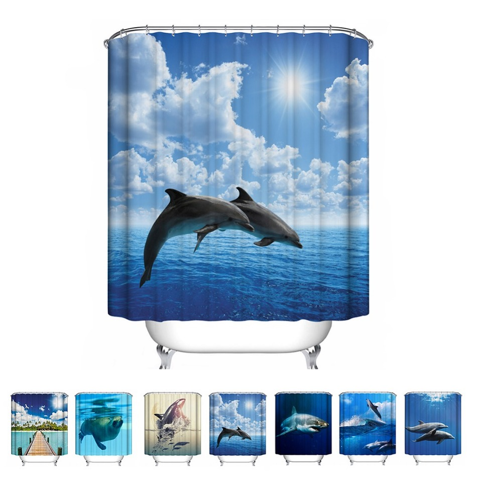 Blue bathroom curtains - 7 Types Fantastic Sea World Waterproof Shower Curtain Dolphin Shark Sea Lions Polyester Seascape