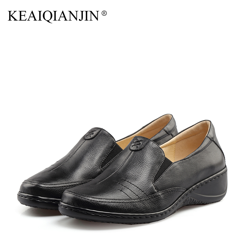KEAIQIANJIN Woman Genuine Leather Derby Shoes Flats Spring Autumn Black Brown Loafers Shoes Genuine Leather Loafers Lazy Shoes keaiqianjin woman sheepskin flats black red silvery plus size 33 41 spring autumn derby shoes lace up genuine leather shoes