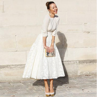 Elegant Ivory Mid Calf Lace Skirts Custom Made High Waist Pleated Chic Vintage Plus size Midi Length Skirt Saia Zipper waistline