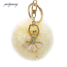 PF Rhinestone Angel Keychain Bunny Fluffy Fur Key Chain Pompom Women's Handbags Key holder Car Porte Clef Delicate Trinket YS001
