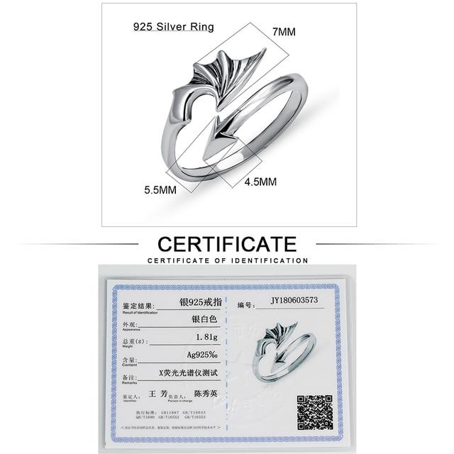 JIASHUNTAI 100% 925 Anelli In Argento Sterling Per Le Donne Ala Arrow Design Epoca Tailandese Gioielli In Argento Anello Aperto Per L'amante Best regali