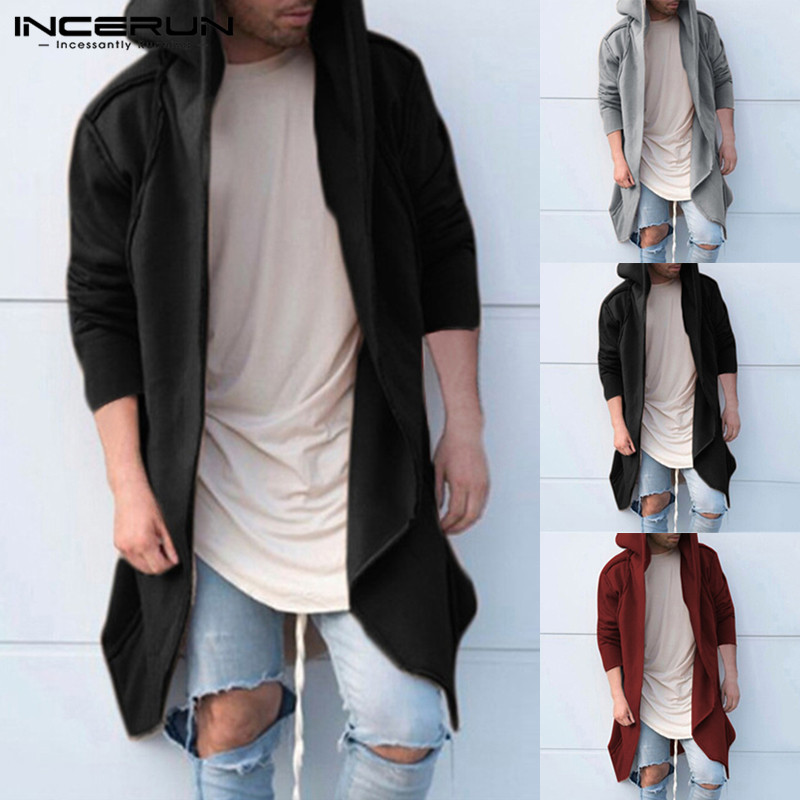 2018 de los hombres Sudaderas con capucha manto con capucha larga dobladillo Irregular sólido suelto con capucha Otoño de manga larga Cardigan Hiphop Hombre