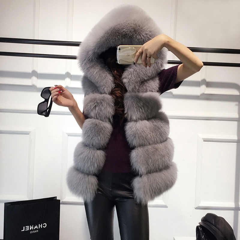 High quality Fur Vest coat Luxury Faux Fox Warm Women Coat Vests Winter Fashion furs Women's Coats Jacket