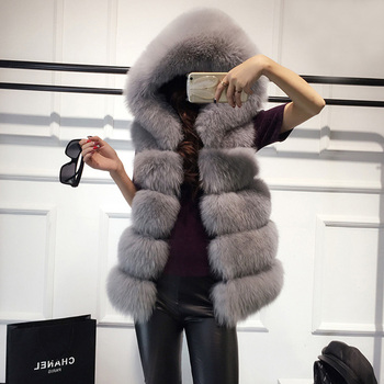 High quality Fur Vest coat Luxury Faux Fox Warm Women Coat Vests Winter Fashion furs Women's Coats Jacket image