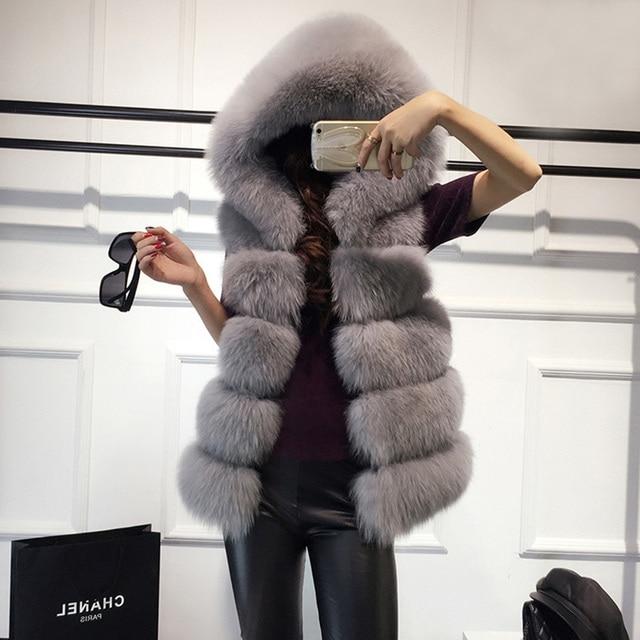 High quality Fur Vest coat Luxury Faux Fox Warm Women Coat Vests Winter Fashion furs Womens Coats Jacket