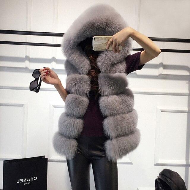 Hohe qualität Pelz Weste mantel Luxus Faux Fuchs Warme Frauen Mantel Westen Winter Mode pelze frauen Mäntel Jacke