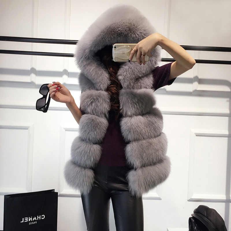 Yüksek kaliteli Kürk Yelek ceket Lüks Faux Fox Sıcak Kadın Ceket Yelek Kış Moda kürkler kadın Mont Ceket