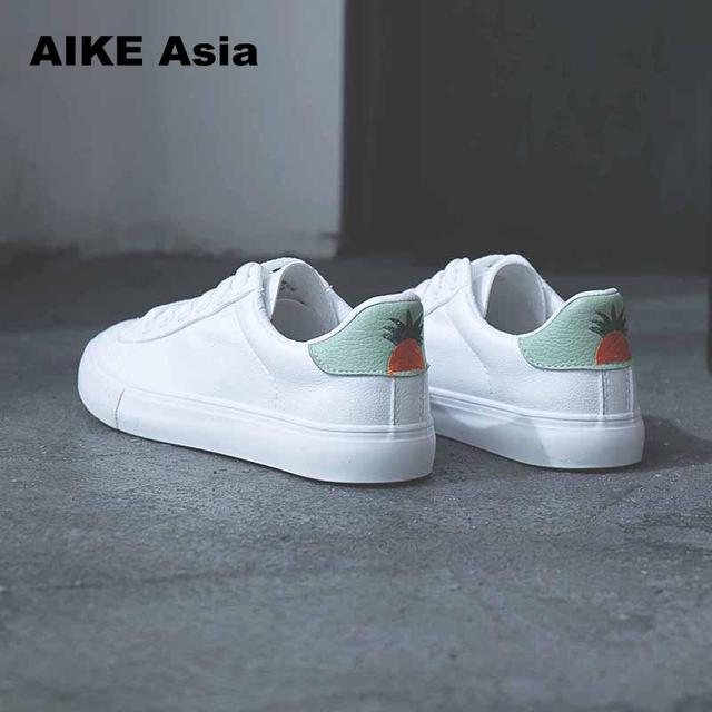 HOT Women Sneakers Fashion Breathble Vulcanized Shoes Pu leather Platform Lace up Casual White Tenis