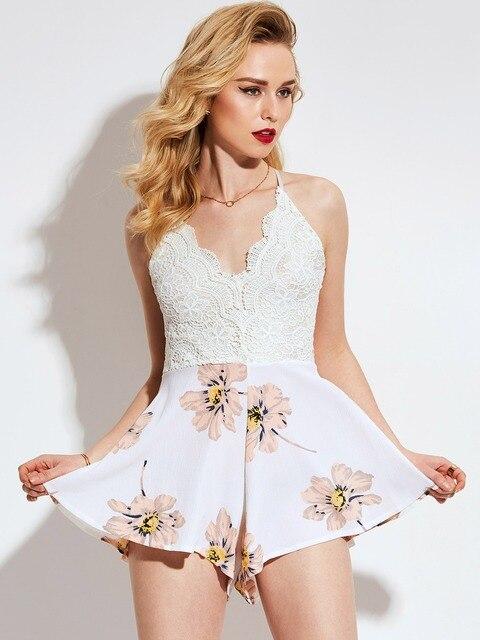 2b67c23dd Young17 Mulheres Macacão Branco de Renda Feminino Culottes Curto Sem  Encosto Macacão Feminino High-Cintura