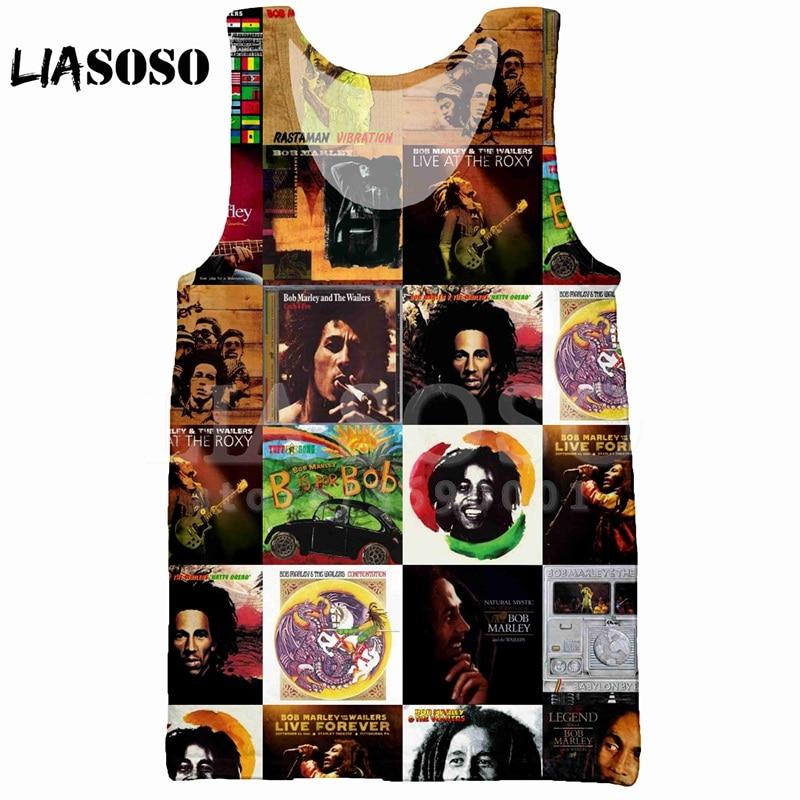 00c0a15c477a LIASOSO Summer 3D Print Men s Tank Top Vest Rock Reggae BOB Marley Face  Smile sleeveless Hip