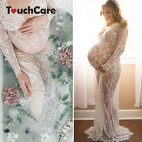 Touchcare Lace Dresses Maternity Photography Props Transparent Pregnant Evening Dress Photo Shoot Gown Hollow Out Beach