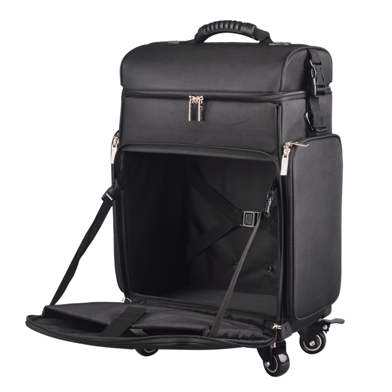 где купить Nylon Professional Artist Rolling Wheeled Trolley Makeup Train Case Cosmetic Rolling Makeup Case with Pouches in Black дешево