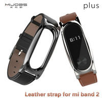 Original Mijobs Strap For Xiaomi Mi Band 2 Leather Wrist Band Strap Smart Bracelet Miband 2