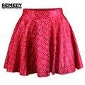Mulheres Verão Stlye Vermelho Sereia Rodada Triângulo Faldas Mujer Curto Mini Saias 2016 Saia de Impressão Digital de Cintura Alta Clube Do Partido