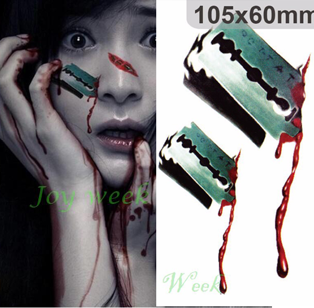 Waterproof temporary tattoo sticker 3d blade wound tattoo for How to get fake tattoos off