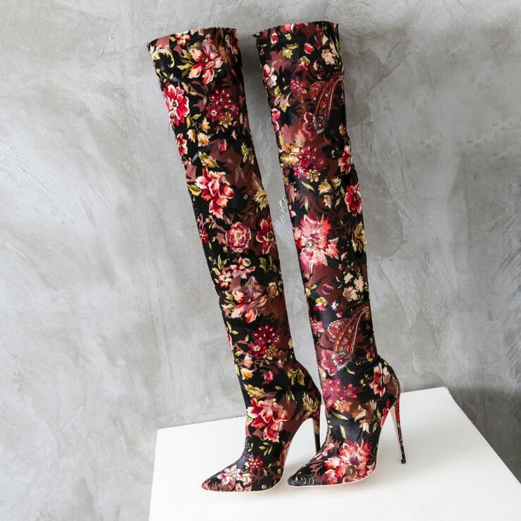 Genou Bottes Imprimer Cuisse Picture Plus Haute Cuir 2018 Fleur Boot Pointu Nouveautés As Femmes S'étendent Chaussette Bout Taille En La Sur AYTqpYwE