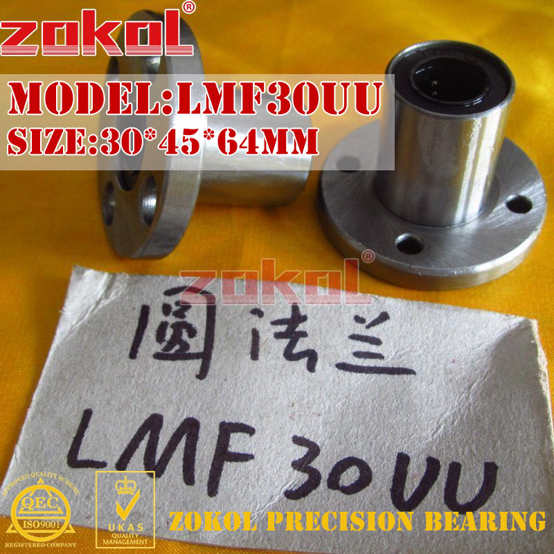 ZOKOL bearing LMF30UU Round flange linear motion bearing 30*45*64mm zokol lmf25 uu bearing lmf25uu round flange linear motion bearing 25 40 59mm