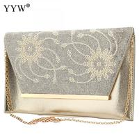 Tiny Glass Beads Floral Brand Luxury Women S PU Leather Handbags Gold Clutch Bag For Women