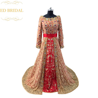 Crystal Beaded Moroccan Kaftan Champagne Lace And Red Hijab Muslim Evening Dress Long Sleeves Formal Evening