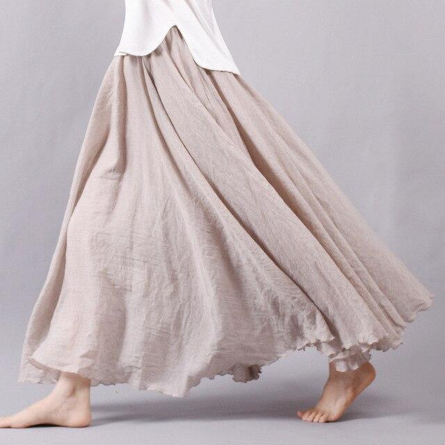 Sherhure 2019 Vải Lanh Nữ Cotton Dài Váy Lưng Thun Xếp Ly Váy Maxi Đi Biển Boho Vintage Mùa Hè Váy Faldas Saia