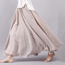 Sherhure 2020 Women Linen Cotton Long Skirts Elastic Waist Pleated Maxi Skirts Beach Boho Vintage Summer Skirts Faldas Saia