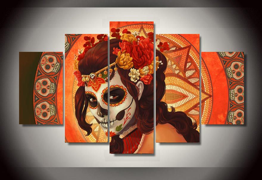 5 pieces canvas art set Day of the Dead Face Group Painting room ...