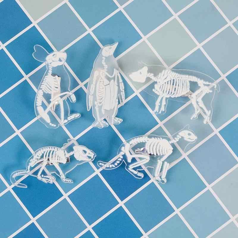 ยุโรปสำหรับผู้หญิงอะคริลิคโปร่งใสหมูแมวเพนกวินกระต่ายเพนกวินนกเข็มกลัดเคลือบ Pin อุปกรณ์เสริม