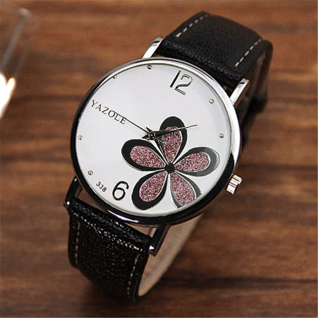 Famous Fashion Leather Strap Band Round Flower Women Watches Quartz Wristwatches Ladies Female Dress Clocks Relogio Feminino
