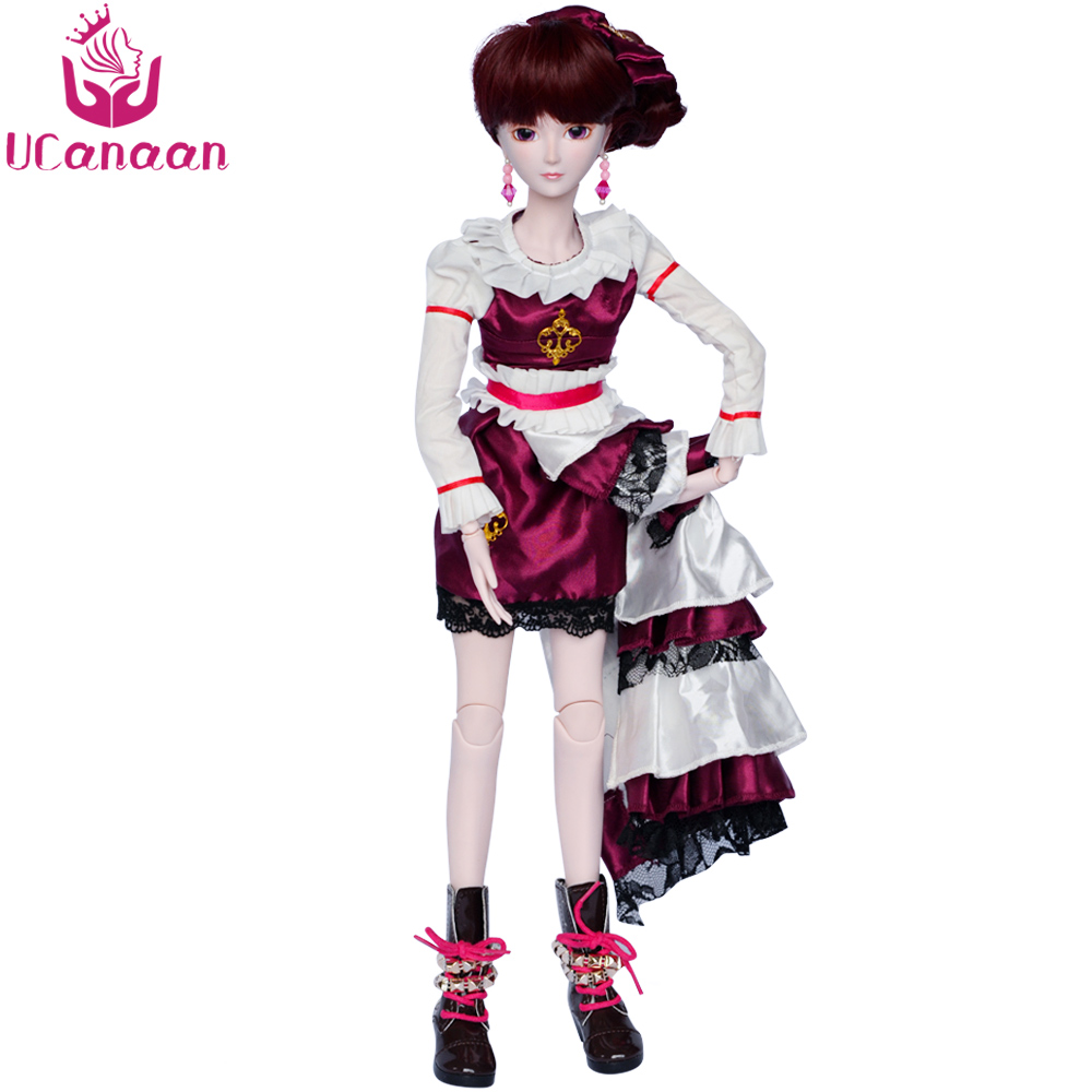UCanaan 1/3 BJD Girls Doll 24 19 Ball Joints SD Dolls With All Outfits Makeup DIY Dressup Toys for Children ucanaan 1 3 bjd dolls beauty sd doll 19 ball jointed with full outfits makeup dressup dolls children toys for girls