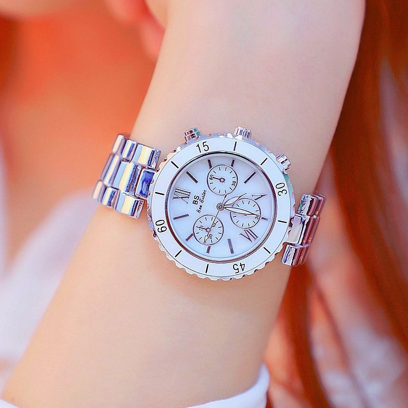 40mm Big Dial Ladies Watch Women Quartz Watches Silver White Color Female Aolly Steel Watch Girl Fashion Casual Watches Reloj