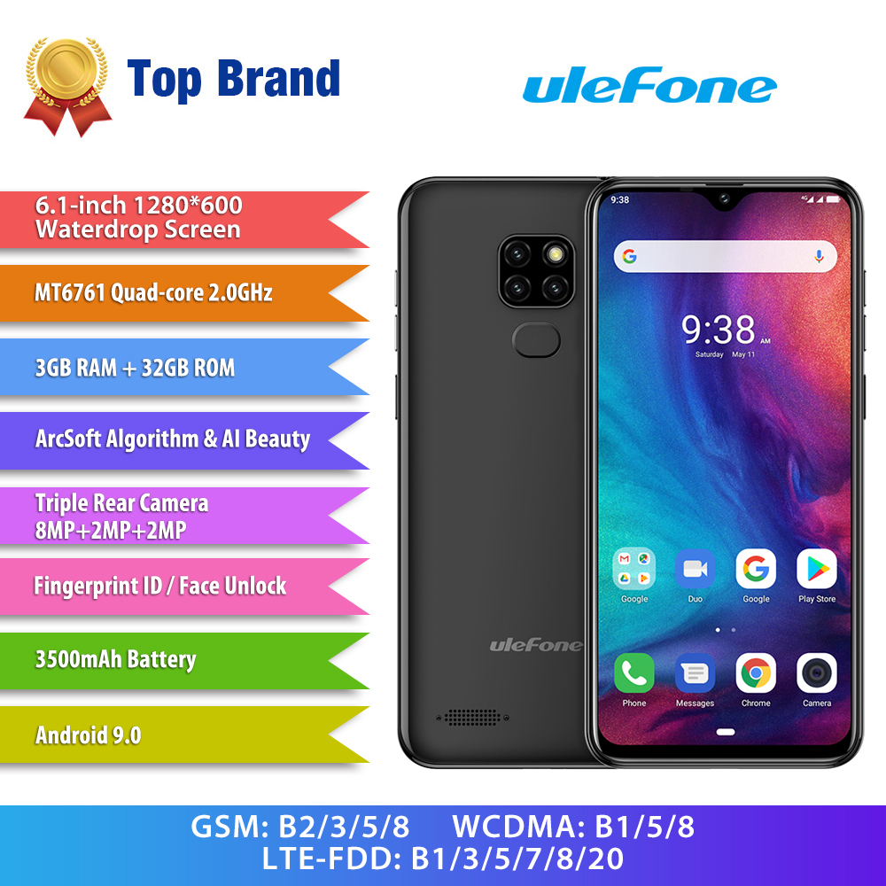 Ulefone Note 7P Smartphone Android 9.0 Cellphones Quad Core 3500mAh 6.1 inch Waterdrop Screen 3GB+32GB Mobile Phone Face Unlock