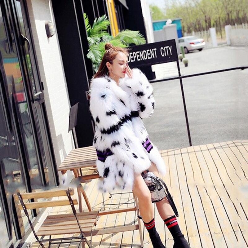 Renard Réel Manteau Lvchi De Mince Mode Femmes Manteaux Vison Turn down Bande Fourrure Naturel D'hiver Jeunes Fourrures Blanc Collar AAfqp