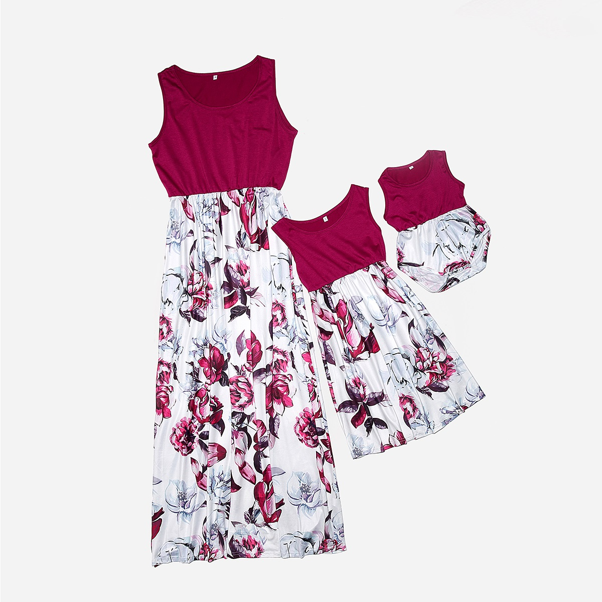Sleeveless Mother Daughter Dresses Family Look Mommy And Me Clothes Floral Print High Waist Mom Mum Baby Matching Dress Outfits
