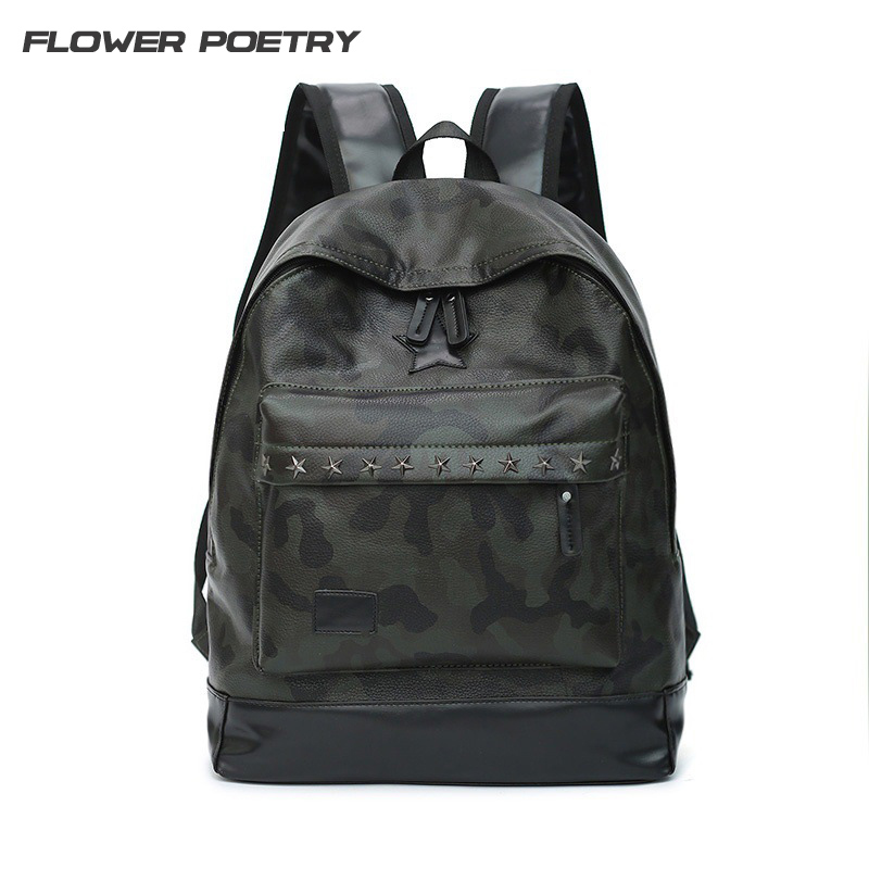 Men Camouflage PU Leather Backpack Rivets High Quality Casual Backpacks Youth School Bag Laptop Backpack Women Backpack 1