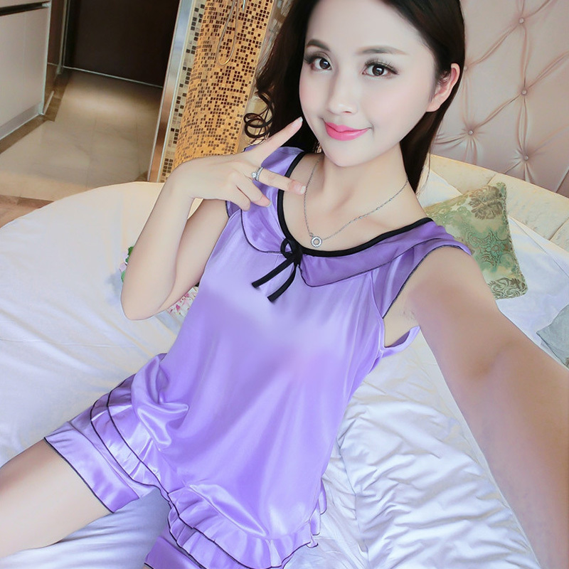 Women's Sleeveless   Pajamas     Set   Summer Breathable Pyjamas Fashion Ice Silk Nightwear   Sets   Charming Homewear Short Women Sleepwear