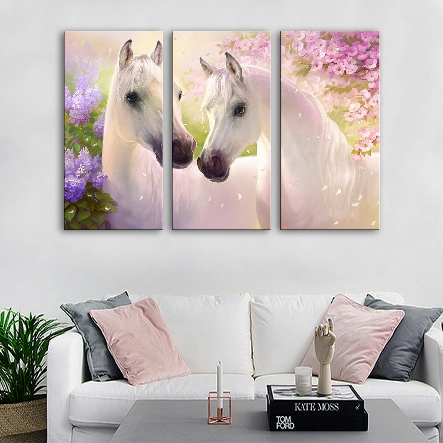 Drop Shipping Canvas Paintings Modern Living Room Wall Paintings 3 Piece Animal Horse Modular Pictures on The Wall Home Decor