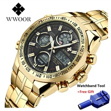 Dropshipping High Quality WWOOR Watch Men Luxury Stainless Steel Military Watches Chronograph Male Luminous Waterproof Clock