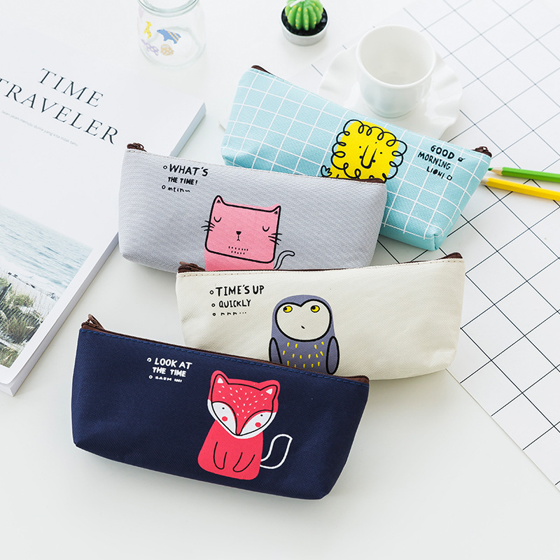 The new student stationery good morning obtrapezoid cute cartoon pencil bag pencil box