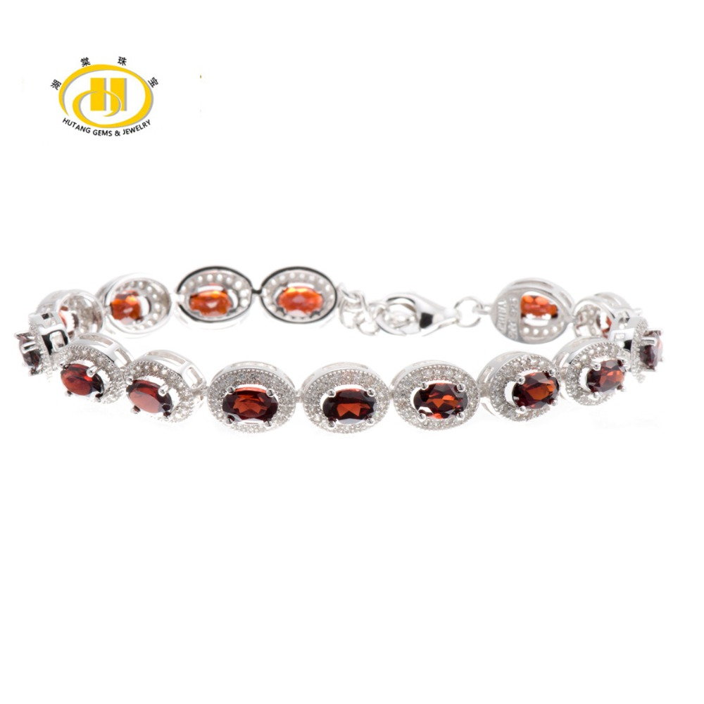Hutang Stone Jewelry 9.94Ct Natural Garnet Gemstone Solid 925 Sterling Silver Bracelets for women Fine Fashion Jewelry 7.25